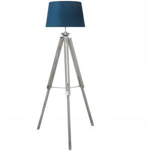 Cimc Wood Tripod Floor Lamp With Marine Green Shade Eu Bt580 L0 Vel Gyma