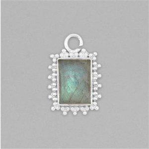 Jewellerymaker 925 Sterling Silver Gemset Pendant Approx 26x17mm Inc. 7cts Labradorite Cushion Cabochon A Oljv94, Grey