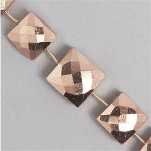 Jewellerymaker Copper Pyrite Beads, Cushion Gemstone Strands. 360cts, Graduated Faceted Fdvx21, Copper