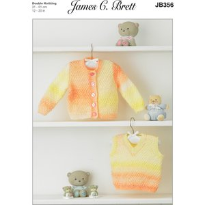 Cardigan And Slipover In James C. Brett Baby Marble Dk (jb356)