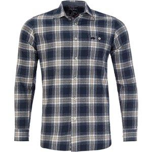 Raging Bull Big & Tall Long Sleeve Check Brushed Twill Shirt - Navy - Navy, 6xl A19cs283/74/123 , Navy
