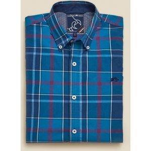 Raging Bull Big & Tall Long Sleeve Large Check Poplin Shirt - Navy - Navy, 6xl A19cs279/74/123 , Navy