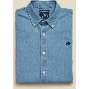 Raging Bull Big & Tall Long Sleeve Light Washed Denim Shirt - Denim - Denim, 4xl S20cs321/158/121 , Denim