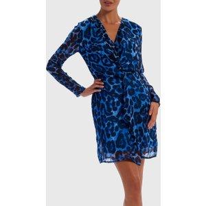 Forever Unique Blue Leopard Print Wrap Dress - 14, Blue Wf5203, Blue