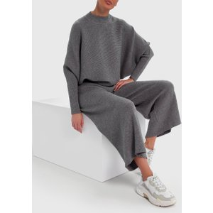Forever Unique Dark Grey Knitted Jumper And Trouser Co-ord Lounge Set - Onesize  Ex18727