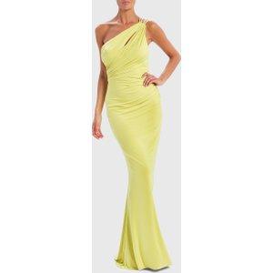 Forever Unique Lime Green One-shoulder Slinky Maxi Dress - 8, Lime Af0904, Lime