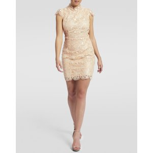 Forever Unique Nude Floral Lace Bodycon Dress - 8, Pink Df18066, Pink