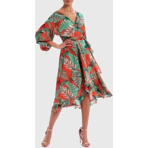 Forever Unique Red And Green Leaf Print Wrap Dress - L, Multi Ex18441, Multi