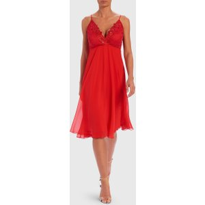 Forever Unique Red Chiffon Midi Dress - 8, Red Df18083, Red