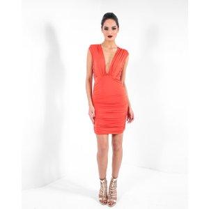 Forever Unique Ruched Orange Plunge Neck Bodycon Dress - 8, Orange Pf4401, Orange