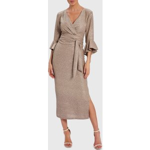 Forever Unique Verity - Gold Wrap Maxi Dress With Fluted Sleeves - S, Gold Wf3103, Gold