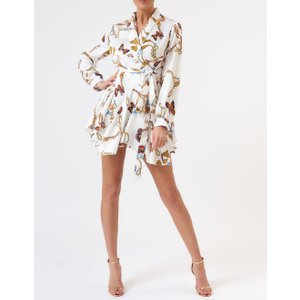 Forever Unique White Butterfly Chain Print Silky Wrap Dress With Belt - S, White Ex19224, White