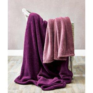 Damart Super Soft Teddy Fleece Throw, Purple