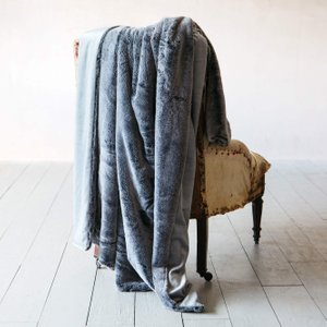Charcoal Tipped Faux Fur Throw Waf1003