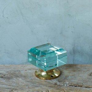 Large Square Aqua Glass Door Knob Scs1005