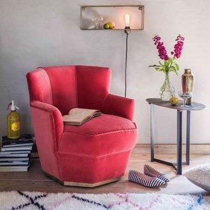 Octagonal Coral Velvet Tub Chair Mua1014