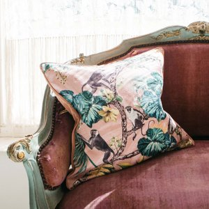 Rose Monkey Print Cushion Fwg1003