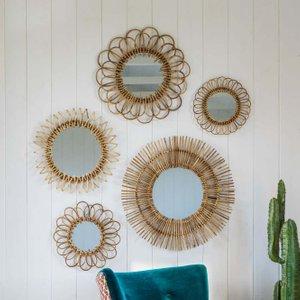 Set Of Five Rattan Wall Mirrors Wws8081