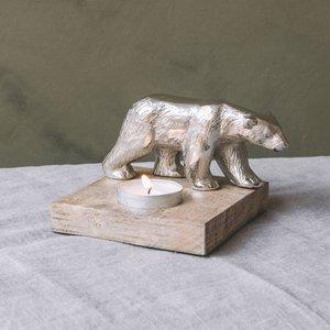 Silver Bear Tea Light Holder Egw1009