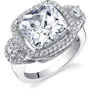 Ruby & Oscar Cushion Cut Cz Engagement Ring In Sterling Silver /colourless R132235s, /Colourless