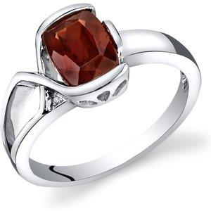 Ruby & Oscar Cushion Cut Garnet & Diamond Bezel Ring In 9ct White Gold /red Orange R152011w, /Red-Orange