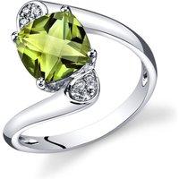 Ruby & Oscar Cushion Cut Peridot & Diamond Bypass Ring In 9ct White Gold /green R151777w, /Green