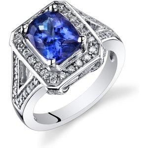 Ruby & Oscar Cushion Cut Tanzanite & Diamond Ring In 9ct White Gold /blue Violet R149299w, /Blue-Violet