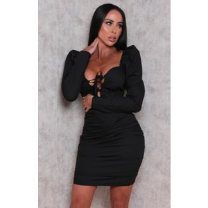 Femmeluxe Black Bardot Lace Up Front Ruched Bodycon Mini Dress - Remy M (10/12) Mblkdra236 Womens Dresses & Skirts, black