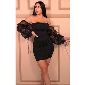 Femmeluxe Black Bardot Mesh Sleeve Cross Back Bodycon Mini Dress - Fleur 12blkdr7459 Womens Dresses & Skirts, black