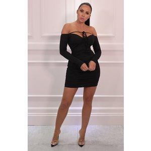 Femmeluxe Black Corset Bardot Bodycon Mini Dress - Chrissy 6 6blkdr6660 Womens Dresses & Skirts, black