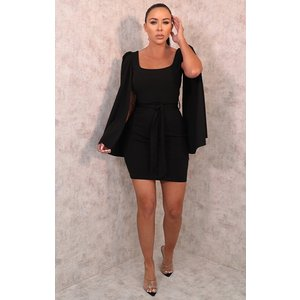 Femmeluxe Black Extreme Flare Sleeve Belted Bodycon Mini Dress - Aria 14blkdr9793 Womens Dresses & Skirts