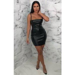 Femmeluxe Black Faux Leather Bodycon Mini Dress - Jameie 10blkdr6029 Womens Dresses & Skirts, black