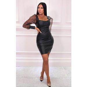 Femmeluxe Black Faux Leather Leopard Print Organza Sleeve Mini Dress - Baldwin 8 8blkdr7659 Womens Dresses & Skirts, black