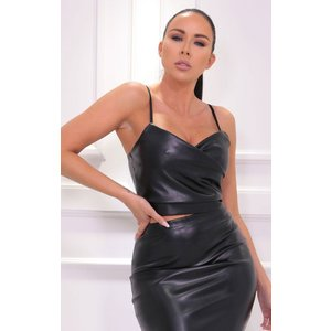 Femmeluxe Black Faux Leather Strappy Wrap Crop Top - Ula 8blktp6883 Womens Clothing, black