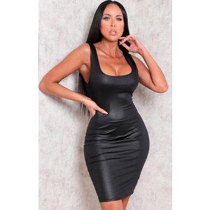 Femmeluxe Black Faux Leather Thick Strap Bodycon Mini Dress - Nori 14blkdra753 Womens Clothing, Colour_Black