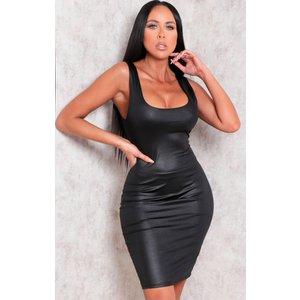 Femmeluxe Black Faux Leather Thick Strap Bodycon Mini Dress - Nori 8 8blkdra753 Womens Dresses & Skirts, black