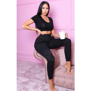 Femmeluxe Black High Waisted Seam Cuffed Joggers - Roxy 14blkjga1237 Womens Sportswear, black