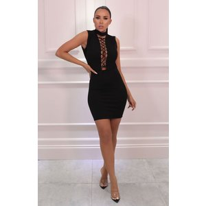 Femmeluxe Black Lace Up Front High Neck Bodycon Mini Dress - Clover 10blkdr7090 Womens Dresses & Skirts, black