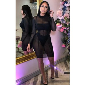 Femmeluxe Black Mesh Long Sleeve Midi Dress - Rey 12blkdr5055 Womens Dresses & Skirts, black