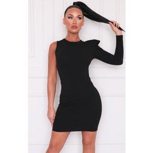 Femmeluxe Black One Shoulder Padded Bodycon Mini Dress - Unice 12blkdra540 Womens Clothing, black
