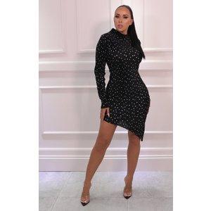 Femmeluxe Black Polka Dot High Neck Bodycon Asymmetric Midi Dress - Cattie 10blkdr6995 Womens Dresses & Skirts, black