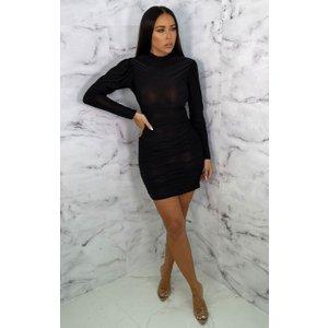 Femmeluxe Black Ruched High Neck Bodycon Mini Dress - Peyton 6blkdr6812 Womens Dresses & Skirts