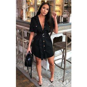 Femmeluxe Black Safari Shirt Dress - Rhys Sblkdr3945 Womens Dresses & Skirts, black