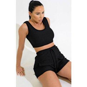 Femme Luxe Black Scoop Neck Sleeveless Crop Top & Tie Detail Mock Pocket Shorts Rib Co-ord Set - Cara 8blkcoa5013 Womens Tops, black
