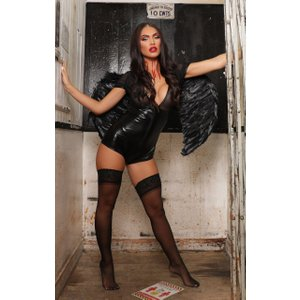 Femme Luxe Black Vinyl Faux Leather Plunge Mesh Bodysuit - Oliviana Xl (14/16) Xlblkhwa3749 Womens Clothing, black