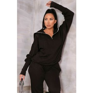Femme Luxe Black Zip Up Front Sweatshirt Skinny Joggers Loungewear Set - Paige 12 12blklga6115 Womens Clothing, black