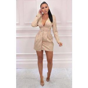 Femmeluxe Champagne Satin Corset Plunge Mini Blazer Dress - Luna 6chadr7250 Womens Dresses & Skirts, champagne