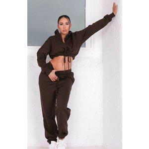 Femme Luxe Chocolate Cropped Cuffed Joggers Loungewear Set - Lauren 14 14chclga5249 Womens Tops, brown