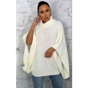 Femmeluxe Cream Extreme Sleeve Roll Neck Jumper - Moviee Smcrmju6212 Womens Clothing
