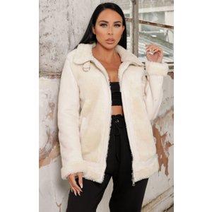 Femme Luxe Cream Faux Fur Oversized Aviator Jacket - Mila 10 10crmjka4035 Womens Clothing, cream
